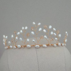 Darcy Pearl Gold Wedding Tiara