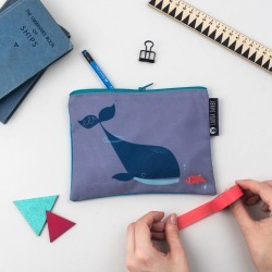 Blue Whale And Fish Purse Or Pencil Case