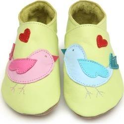 Soft Leather Baby Shoes Lovebirds Lemon
