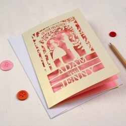 Personalised Papercut Couple Engagement Card