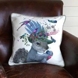 FabFunky Home Decor Squirrel Decorative Cushion