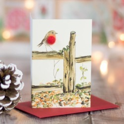 Mini Christmas Gift Cards, Robins On Fence, Set Of Four found on Bargain Bro UK from Notonthehighstreet.com for $10.09