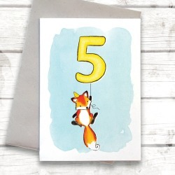 Fox Child's Birthday Choose Your Number Card
