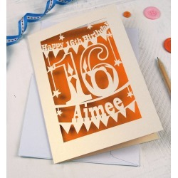 Personalised Papercut 16th Birthday Card