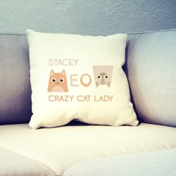 Personalised Crazy Cat Lady Cushion Cover