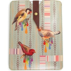 Leather iPad Case Or Laptop Case: Bird And Stripe