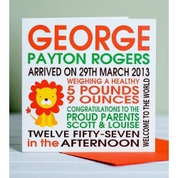 DEALS Personalised New Baby Lion Birth Card