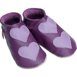 Leather Baby Shoes Lovehearts Grape Mauve