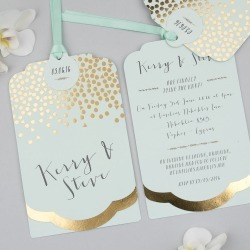 Scatter Foil Luxe Invitation Suite, Gold Foil On Mint