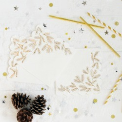 Christmas Gold Foil Pine Leaf Party Napkins