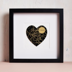 Personalised Gold Foil Heart Map Picture