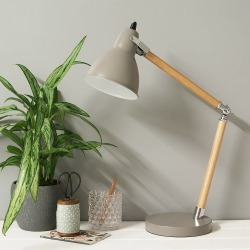 Grey Enamel And Wooden Desk Lamp
