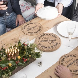 Set Of Four Personalised Christmas Cork Placemats