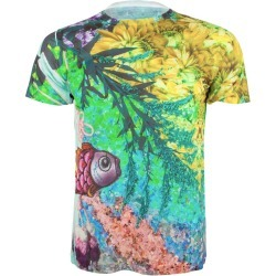 Unisex Hyper Real Floral Fish Printed T Shirt Tee