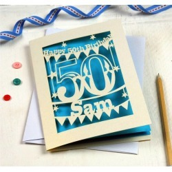 Personalised Papercut 50th Birthday Card
