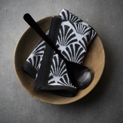 Black And White Block Print Napkin