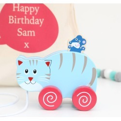 Personalised Bag And Pull Along Cat And Mouse Toy
