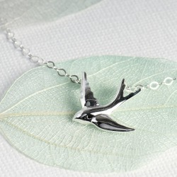 Swallow Necklace On A Personalised Gift Card