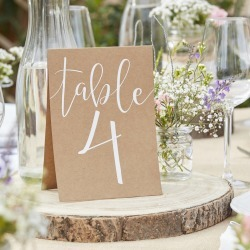 Kraft Table Number Wedding Day Tent Cards