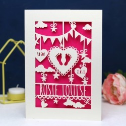 Personalised Papercut Baby Card