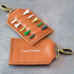 Personalised Leather Golf Tee Holder
