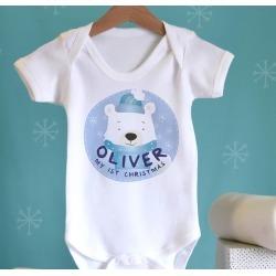 1st Christmas Polar Bear Baby Name Vest
