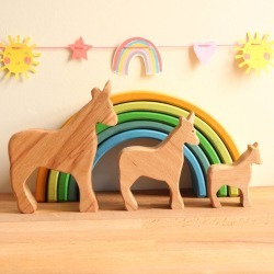Wooden Toy Family Of Unicorns
