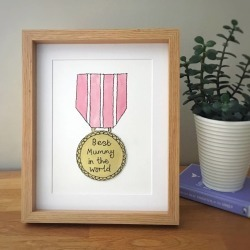 Hand Painted And Embroidered Gold Medal For Mum