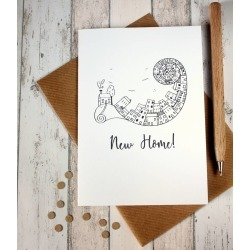 New Home Card 'New Home' Illustrated Cityscape Card