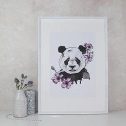 Panda And Blossom Art Print