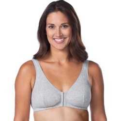 Leading Lady Cotton Front Hook Leisure Bra Heather Grey 36F/G/H Women's found on Bargain Bro from onehanesplace.com for USD $13.68