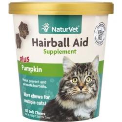 NaturVet Hairball Aid Supplement Plus Pumpkins 100 Soft Chews