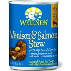 Wellness Canned Dog Food for Adult Dogs Venison & Salmon Stew with Potatoes & Carrots 12.5 oz cans / case of 12