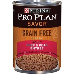 Purina Pro Plan Savor Grain Free Classic Adult Beef & Peas Entree Canned Dog Food 13-oz, case of 12