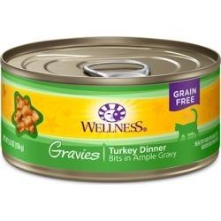 Wellness Natural Grain Free Gravies Turkey Dinner Canned Cat Food 3-oz, case of 12