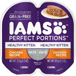 Iams Perfect Portions Healthy Kitten Chicken Pate Wet Cat Food Tray 2.6-oz, case of 24