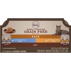 Nutro Perfect Portions Grain Free Salmon & Tuna and Chicken & Shrimp Pate Wet Cat Food Tray Variety Pack 2.65-oz, 6-pack