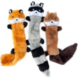 ZippyPaws Skinny Peltz Set of 3 No Stuffing Plush Dog Toys Large, 3-pack