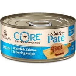 Wellness CORE Grain Free Natural Whitefish, Salmon & Herring Smooth Pate Canned Cat Food 3-oz, case of 12