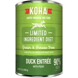 KOHA Grain & Potato Free Limited Ingredient Diet Duck Entree with Pear Canned Dog Food 13-oz, case of 12