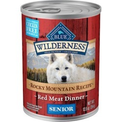 Blue Buffalo Wilderness Rocky Mountain Recipe Grain Free Senior Red Meat Dinner Canned Dog Food 12.5-oz, case of 12