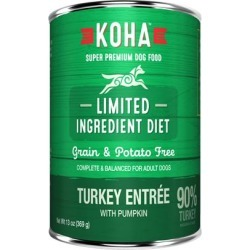 KOHA Grain & Potato Free Limited Ingredient Diet Turkey Entree with Pumpkin Canned Dog Food 13-oz, case of 12