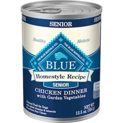 Blue Buffalo Homestyle Senior Dinner Chicken with Garden Vegetables and Brown Rice Canned Dog Food 12.5-oz, case of 12