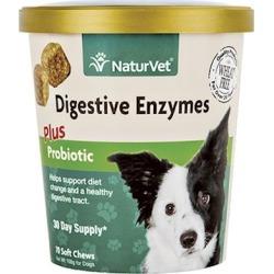 NaturVet Digestive Enzymes Plus Probiotic 120 Soft Chews