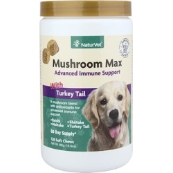 NaturVet Mushroom Max Advanced Immune Support Soft Chews for Dogs and Cats 120-ct