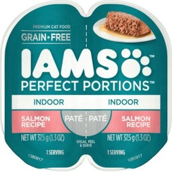Iams Perfect Portions Indoor Salmon Pate Wet Cat Food Tray 2.6-oz, case of 24