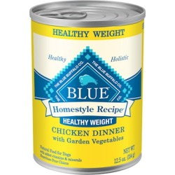 Blue Buffalo Homestyle Recipe Healthy Weight Chicken Dinner with Garden Vegetables Canned Dog Food 12.5-oz, case of 12