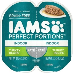 Iams Perfect Portions Indoor Turkey Pate Wet Cat Food Tray 2.6-oz, case of 24