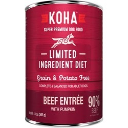 KOHA Grain & Potato Free Limited Ingredient Diet Beef Entree with Pumpkin Canned Dog Food 13-oz, case of 12