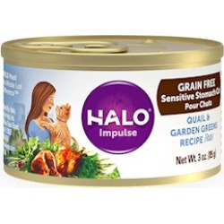 Halo Holistic Sensitive Stomach Grain Free Quail & Garden Greens Pate Canned Cat Food 5.5-oz, case of 12